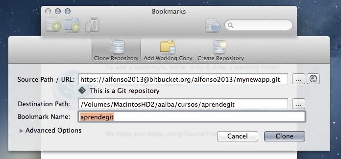 Clonar repositorio en SourceTree