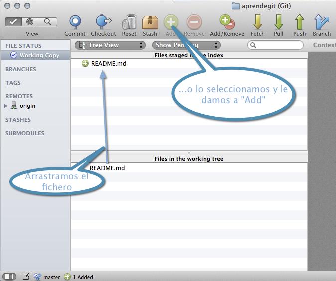 Añadir fichero al staging area