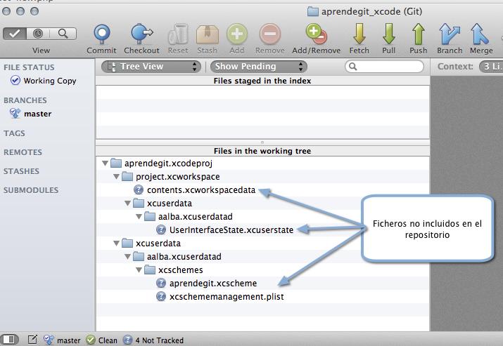 Ficheros nos incluidos por XCode en el repositorio