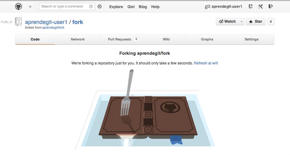 github está haciendo un fork del repositorio de aprendegit