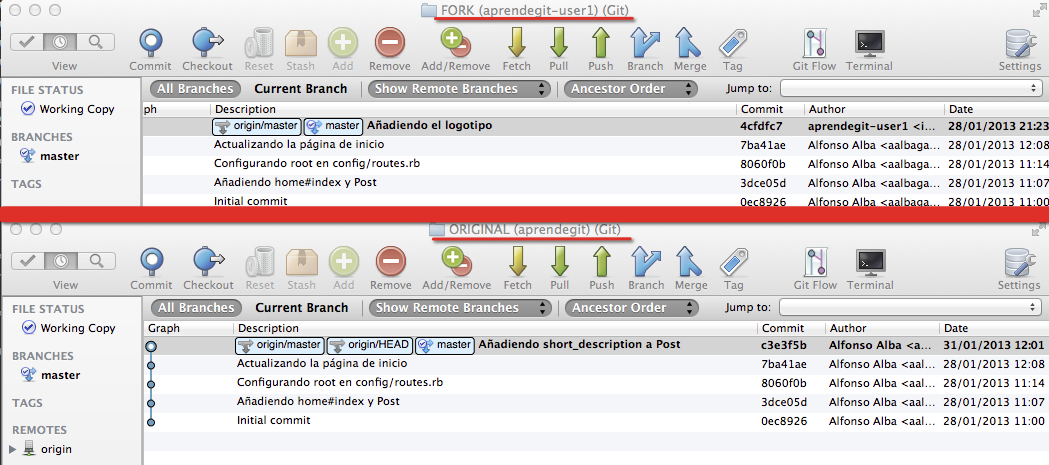 Situación de los repositorios de aalbagarcia y aprendegit-user1