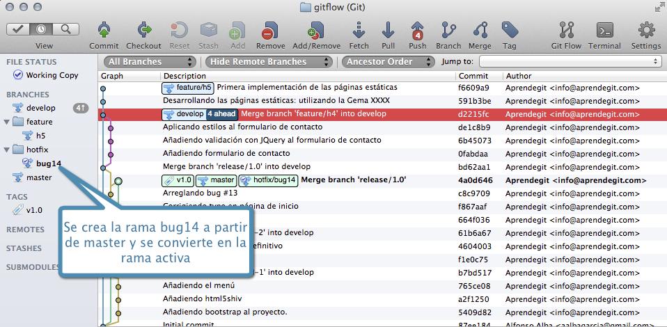 Creando la rama hotfix/bug14